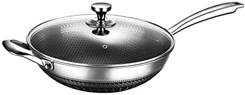 Wok Antiadherente Skillet Cocina de acero inoxidable utensilios de cocina Panal de freisopa con tapa de vidrio Wok No-palo