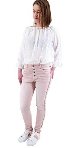 Lexxury Damen Stretch Baggy Jeans seitliche Streifen o. Nieten Tapered...