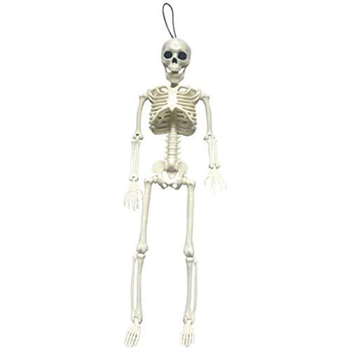 ExCEART 1 peça esqueleto de esqueleto de corpo inteiro esqueleto de plástico osso para o dia das bruxas, decoração de cemitério, artigos de festa, branco