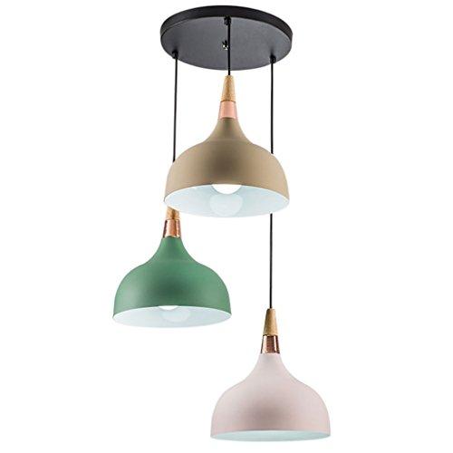 Lüster, LED Deckenleuchte,Pendant Light, E27 Droplight Massivholz Nordic Moderne Kronleuchter Restaurant Bar Zimmer Lampe Einfache Topfdeckel Aluminium Kronleuchter 3 lichter
