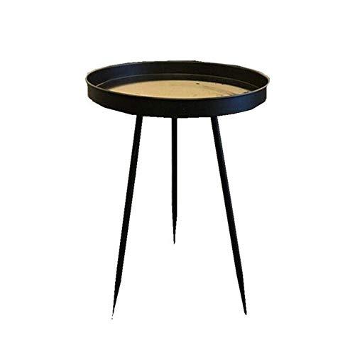 XBR Sofa Beistelltisch, Tische Runder Metalltablett Beistelltisch, Nachttisch/Kleine Tische , für Wohnzimmer/Kleine Räume, Sich verjüngendes Bein, Schwarzer Couchtisch Farbe: Schwarz, Größe: 15.7421.