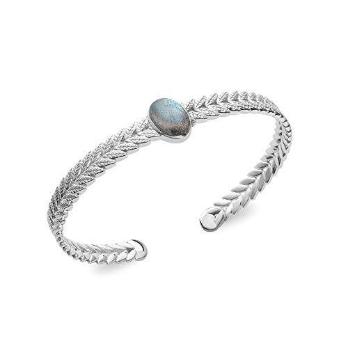 Tata Gisele© pulsera Junco en plata 925/000rhodié y piedra semi Noble Labradorita–Laurel–incluye bolsita regalo terciopelo