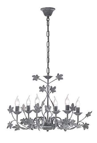 Preisvergleich Produktbild Honsel Leuchten Krone,  Metall,  E14,  30 W,  betonfarbig / grau,  68 x 68 x 48 cm