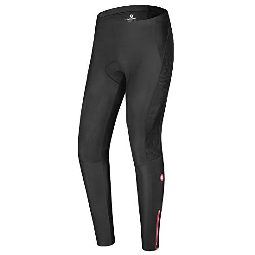 qualidyne Men's Cycling Bike Pants 3D Padded Winter Cycling Tights Compression Outdoor Riding Bicycle Leggings (Black, Medium)