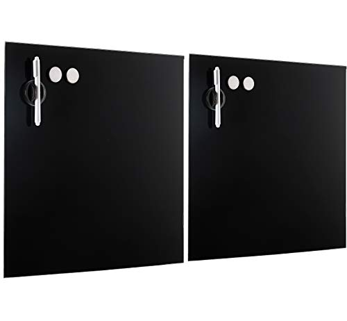 BirdRock Home 2 Pack Magnetic Glass Dry Erase Board for Wall - Glass Whiteboard for Offices, Meeting Rooms, Classrooms or Homes – 2 Dry Erase Markers - 4 Magnets – 2 Marker Holders Eraser - Black