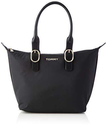 Tommy Hilfiger Damen RECYCLED NYLON TOTE Taschen, Schwarz, One Size