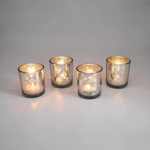 Teelicht-Gläser Set aus Glas inkl. Teelichter - Kleine edle Teelicht Kerzen-Halter mit Verzierungen - Windlichter Kerzenglas - Geschenk Dekoration Hochzeit, Geburtstag, Weihnachten (Silber 4er Set #2)