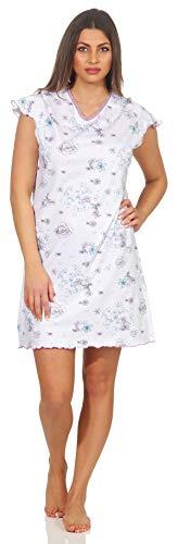 Good Deal Market Damen Sleepshirt Weiss mit Alloverdruck 40/42(M) Nachthemd Blümchen Floral kurz dünn luftig Sommer Nachtwäsche V Ausschnitt Kurze Ärmel Waschmaschinenfest