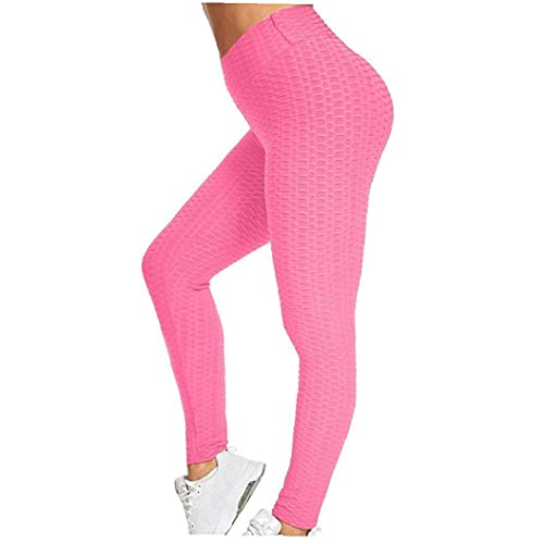 YepYes Womens Yoga Leggings with Pockets,Gym Sports Workout Leggings,High Waist Tummy Control Yoga Pants Running Tights Pink L