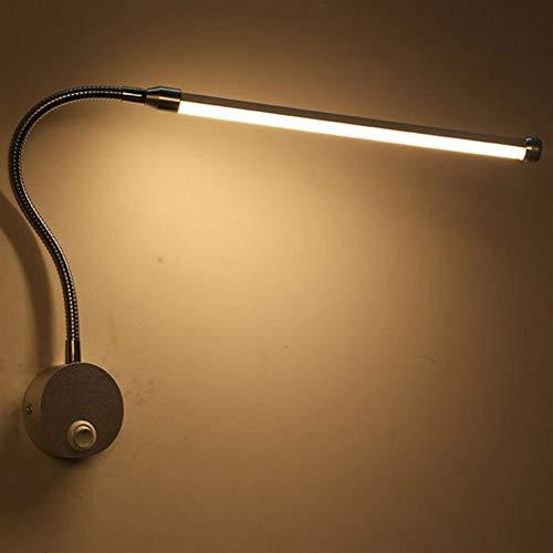DINGYGJ Luz de Lectura LED, lámpara de cabecera de 6W, lámpara de Cama Flexible, lámpara de Cuello de Cisne de Tubo Blando, lámpara de Pared, Incl.Interruptor, en níquel Mate, IP44, 230V, 600 lúmenes