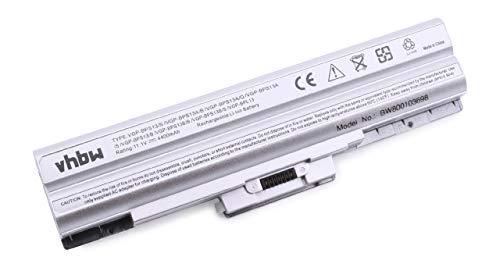 vhbw Li-ION Batterie 4400mAh (11.1V) Argent pour Ordinateur Portable, Notebook Sony Vaio VGN-AW82DS, VGN-AW82JS, VGN-AW82YS comme Sony VGP-BPL13.