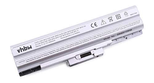 vhbw Li-ION Batterie 4400mAh (11.1V) Argent pour Ordinateur Portable, Notebook Sony Vaio VGN-AW41MF, VGN-AW41MF/H, VGN-AW41XH comme Sony VGP-BPL13.