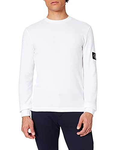 Calvin Klein Jeans Monogram Badge Waffle LS Tee T-Shirt, Bianco Brillante, XS Uomo