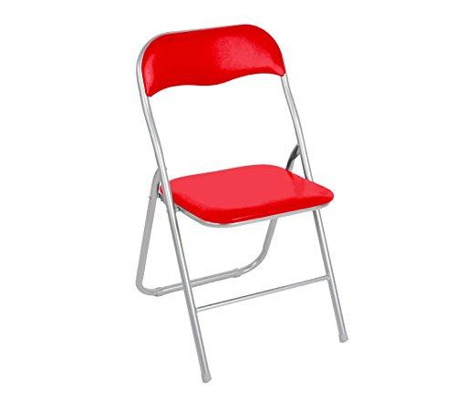 MEDIA WAVE store 2008AN0816 Set de 6 chaises Pliantes colorées Ass. Oslo rembourrées Base métal - Rouge