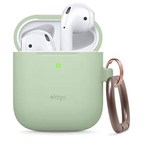 elago Silicone Case with Keychain Compatible with Apple AirPods Case 1 & 2, Front LED Visible, Supports Wireless Charging, Protective Silicone [Pastel Green]