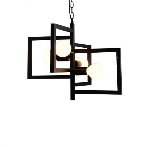 Hines Industrielle Retro-Stil innen Multi-Light Pendelleuchte Celling Licht Chandelie Lampe Leuchte in geometrischen quadratischen Form verwenden 4 E27 Birnen schwarz