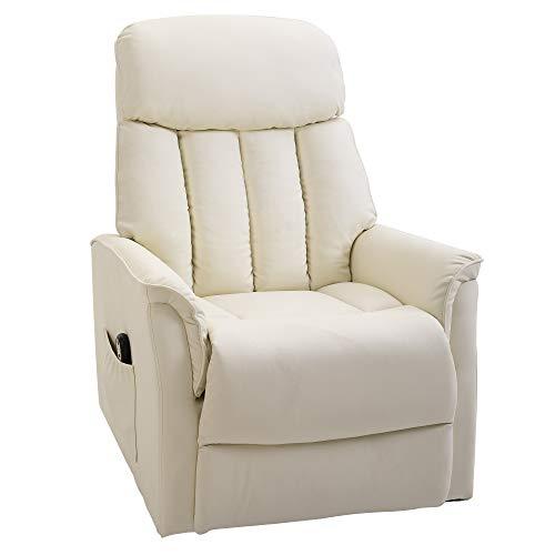 homcom Poltrona Relax Alzapersone con Telecomando, Reclinabile con Poggiapiedi Integrato, 80x94x104cm Crema