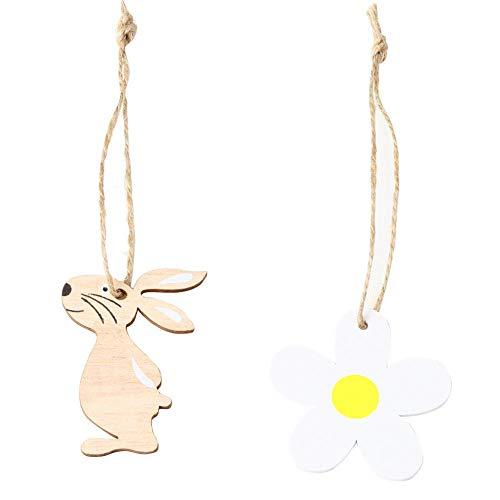 Eternitry Ornamento in Legno Forma Coniglio di Pasqua Kit Fiore Bianco Decorazioni per la casa Ciondolo Coniglietto in Stile Nordico con Corda di Canapa Lunga 25 cm (8PCS)