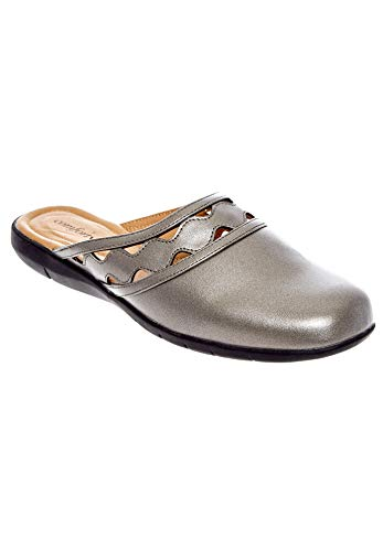 Comfortview Women's Wide Width The McKenna Mule Shoes - 10 1/2WW, Gunmetal