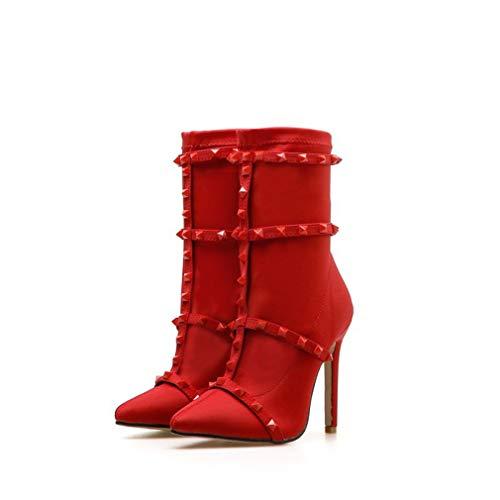 HIJIN Botines de tacón alto para mujer, para mujer, elásticos, con punta puntiaguda, para fiesta, talla 39, color rojo