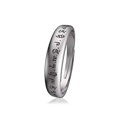 2mm/3mm Width S925 Sterling Silver Ring Meditation Adjustable Finger Buddhism Medicine Buddha Mantra Sanskrit Amulet High Polished Men and Women Wedding Jewellery (Large Size)