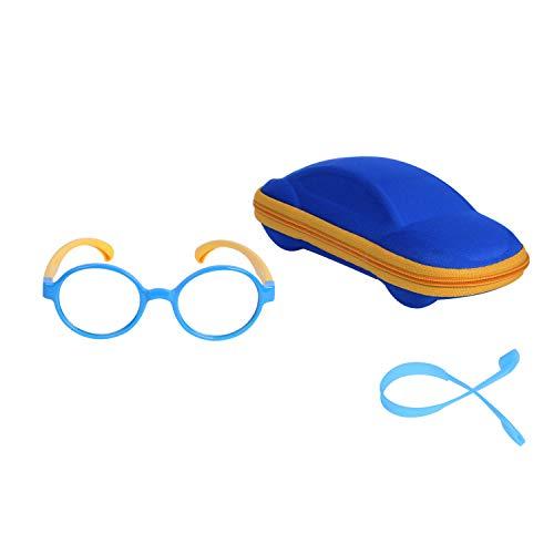 Kinder Blaulichtfilter Brille Ohne Stärke UV Blockieren TR90 Rund Brillengestell für Jungen Mädchen + Anti Rutsch Brillenband + Brillenetui