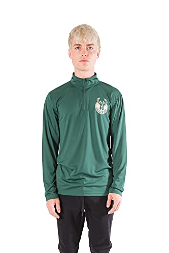 Ultra Game NBA Men's Quarter Zip Long Sleeve Pullover T-Shirt