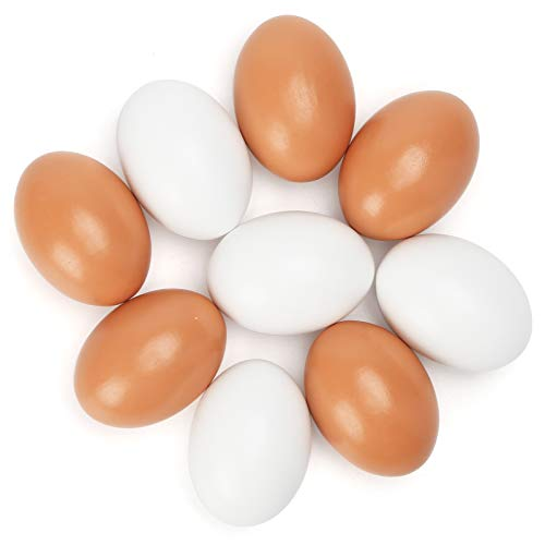 HAKACC Easter Eggs Wooden Fake Eggs 9 Pieces 2 Colors