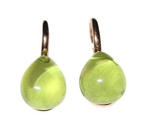 Peridot-grüne Ohrringe Sterling-Silber vergoldet Rot-Vergoldung 18 Karat Ohrhänger Cabochon klein leicht modern Frauen Mädchen Handarbeit Italien