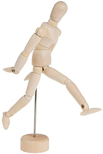 """8"""" Flexible Wooden Mannequin Artist Manikins Moveable Jointed Wooden Model Prop Drawing Human Figure Standing Sitting Articulated Figurine for Home Decoration Art Making"""