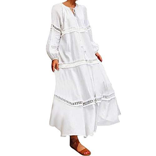 LOPILY Spitzenkleid Damen Große Größen Quaste Bandagen Kleid mit Rüschen Kragen Langarm Hippie Kleid Aushöhlen Blumen Druckkleid Boho Maxikleid Festliches Kleid Langes Strandkleid (Weiß, 46)
