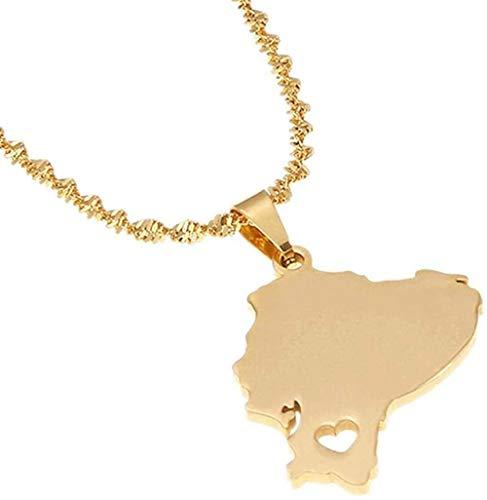 banbeitaotao Collar Acero Inoxidable Color Dorado Mapa de Ecuador Collares Pendientes Mapa ecuatoriano Encanto Joyería