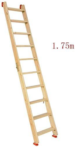 YZjk Leiter Holzklappleiter, Doppelseitige Dachbodentreppe, Multifunktionshaushaltsgerade Leiter Tragbare Außenkletterleiter (Größe: 2m)