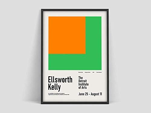 Póster de exposición de Ellsworth Kelly, Museo de Arte Moderno de Nueva York, póster de exposición de arte, pintura en lienzo sin marco Y 50x70cm
