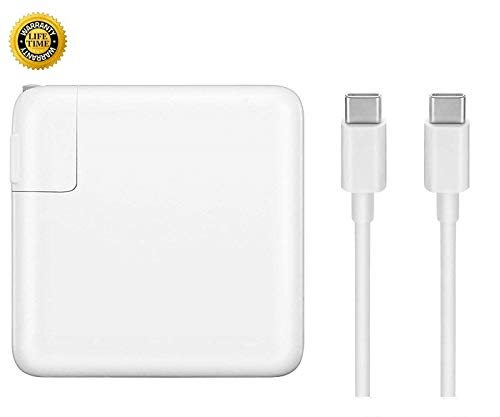 Replacement Charger for MacBook Pro, 61W USB-C to USB-C Ac Power Adapter Charger Compatible with MacBook Pro 12 inch 13 inch MacBook Air 13 Inch 2018 (White)