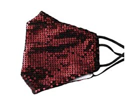Red Sequin Glitter Cotton Masks Filter Pocket and Filter Included