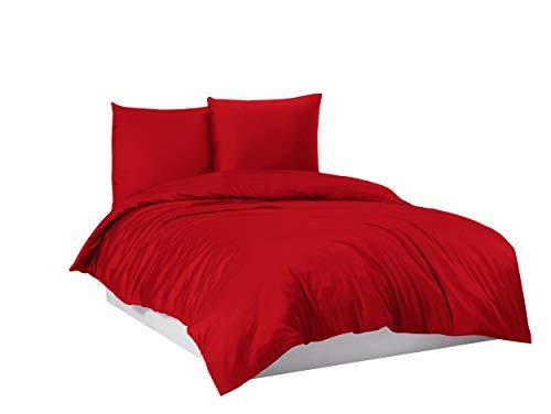 Juego de ropa de cama (funda nórdica 100% algodón, 135 x 200 cm, 155 x 220 cm, 200 x 200 cm), color rojo