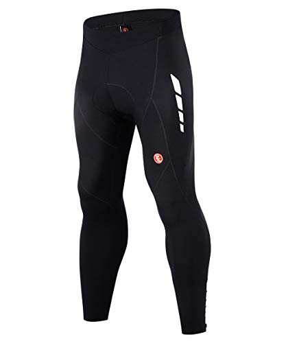 Souke Sports Men's Thermal Fleece Cycling Pants 4D Padded Bike Biking Tights for Winter (Fleece Black, XX-Large)