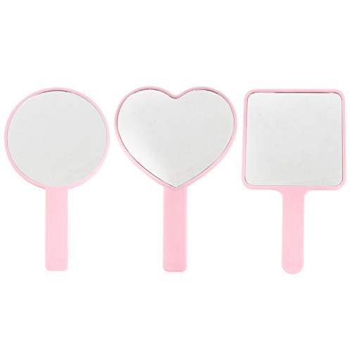 Minkissy 3 Piezas de Espejo de Maquillaje Portátil ABS Plástico Cuadrado Redondo en Forma de Corazón Espejo de Tocador Espejo de Viaje Herramienta de Maquillaje para Mujeres Y Niñas Rosa