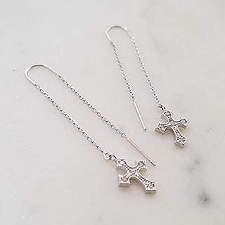 Silver Threader Earrings, Silver Earrings, Cross Earrings, Dainty Earrings, Drop Earrings, Cubic Cross, Anniversary Gift, YARIEL EARRINGS (SILVER)