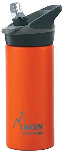 Laken Jannu Botella de Agua Térmica con Aislamiento de Vacío con Doble Pared de Acero Inoxidable 18/8. hasta 24 Horas de Frío, Naranja, 500 ml