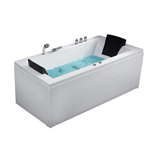 Whirlpool Eck Badewanne Nizza rechts oder links mit 6 Massage Düsen + LED Beleuchtung/Licht Sprudelbad Hot Tub Eckwanne innen super günstig