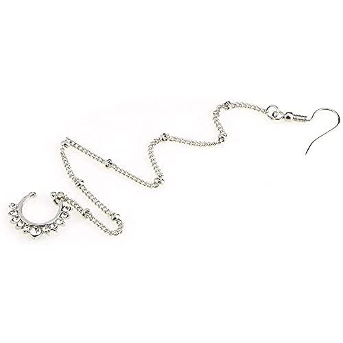 Piercing de nariz falsa para colgar pendientes, cadena de imitación indio de nariz no perforada, joyería de piercing (color de metal: estilo 2-plata)