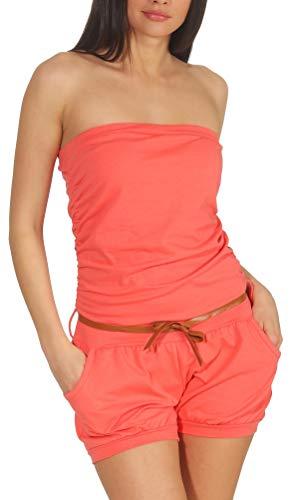 Malito Damen Einteiler kurz in Unifarben | Overall mit Gürtel | schicker Jumpsuit | Romper - Playsuit - Hosenanzug 8964 (Coral)