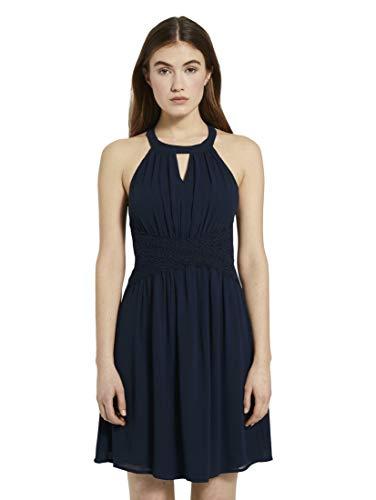 TOM TAILOR Denim Damen Chiffon Kleid, 10360-Real Navy Blue, M