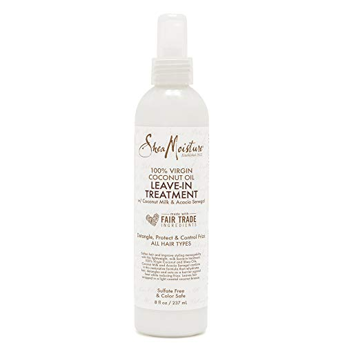 Price comparison product image Shea Moisture 100% Virgin Coconut Oil Leave-in Treatment,  Shine Curly and Tame Frizz for Tangle-Free Hair,  All Natural certified Organic,  8 Ounce