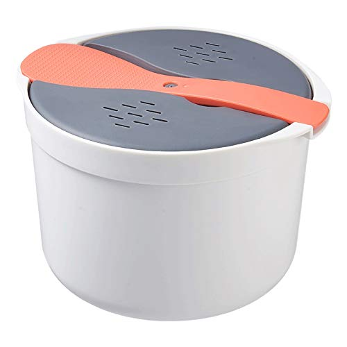 CUHAWUDBA 2L KüChe Mikrowelle Dampf Reiskocher Multifunktionale Doppelschichtige HEI?E Suppe Kochen Heizung Dampfgarer Lunch Box-Orange