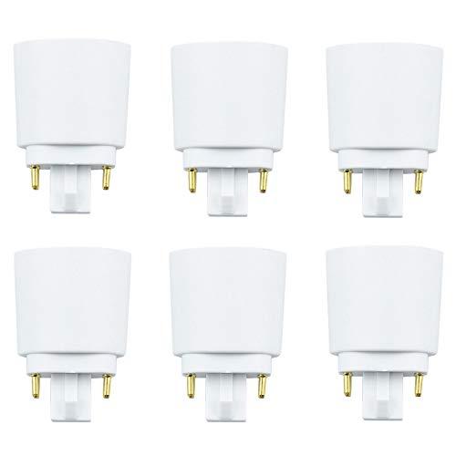 Luxvista 6X Adaptador de Lámpara Luz LED GX24Q a E27, Portalámparas G24Q 4 Pines a Rosca de E27, de Enchufe Extender Base de Tornillo Socket Convertidor, Conector Transformador Soporte