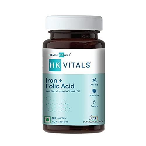 HealthKart HK Vitals Iron + Folic Acid Supplement, with Zinc, Vitamin C & Vitamin B12, Supports Blood Building, Immunity and Energy, 60 Iron Folic Acid Tablets