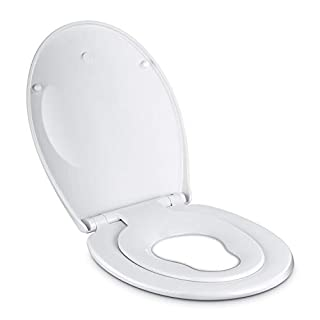 Amzdeal Tapa de wc,Tapa de inodoro con cierre suave y lenta para niños,Tapa de inodoro con sencillo montaje para familia,Tapa y asiento de wc de plástico duro,Tapas de wc en forma de O,blanco (B07DQGP9NS) | Amazon price tracker / tracking, Amazon price history charts, Amazon price watches, Amazon price drop alerts